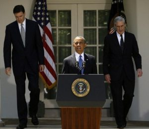 Robert Mueller and James Comey Attending the Press Conference along with Barack Obama