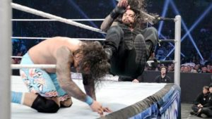 Roman Reigns Running Apron Dropkick