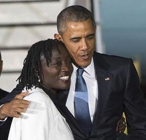 Barack Obama with his Sister Auma Obama