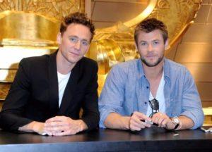 Tom Hiddleston with Chris Hemsworth