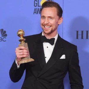 Tom Hiddleston with his Golden Globe Award