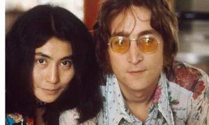 John Lennon with wife Yoko Ono