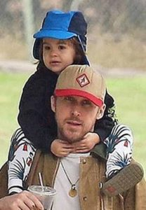 Ryan Gosling with his daughter