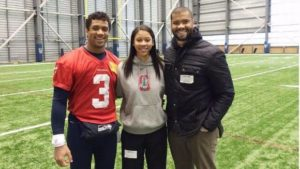 Russell Wilson with his sister and brother