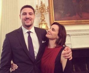 Klay Thompson with his mother