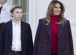Barron Trump with his mother Melania Trump
