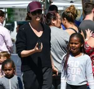 Charlize Theron with her kids