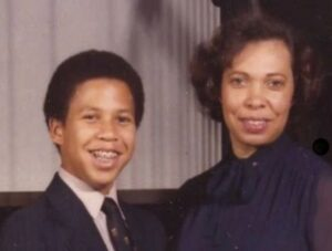 Cory Booker with his mother