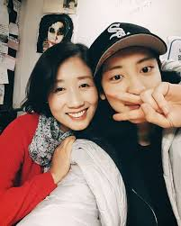 Park Chanyeol with his mother
