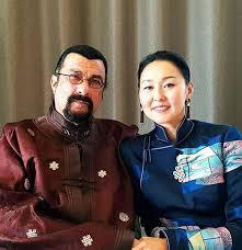 Steven Seagal with his wife Erdenetuya