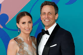 Seth Meyers with his wife