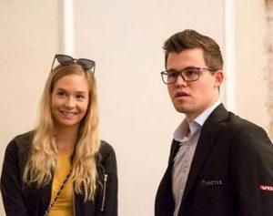 Magnus Carlsen with his girlfriend
