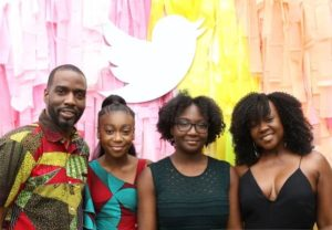 Shahadi Wright Joseph with her family