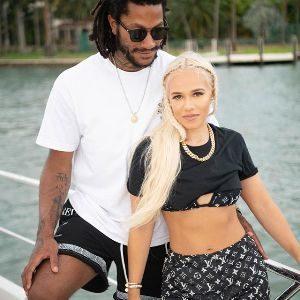 Derrick Rose with his girlfriend Alaina