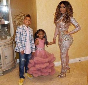 Angel Brinks with her son & daughter