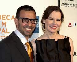 Geena Davis with her ex-husband Reza