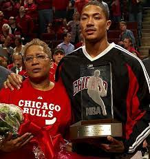 Derrick Rose with his mother