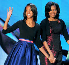 Malia Obama with her mother