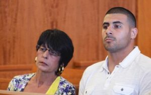 Dennis Hernandez with his mother