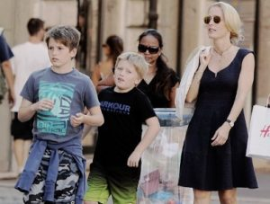 Gillian Anderson with her sons