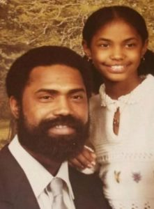 Kim Porter with her father