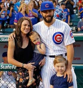 Jake Arrieta with his wife & kids