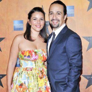 Lin-Manuel Miranda with his wife